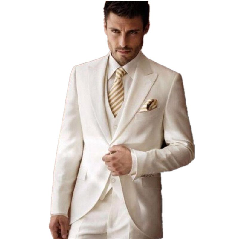 3 Piece Men Suits Quality Suit Pieces Directly From China Wedding Suppliers Ivory For Tuxedos Peaked Lapel Groomsmen