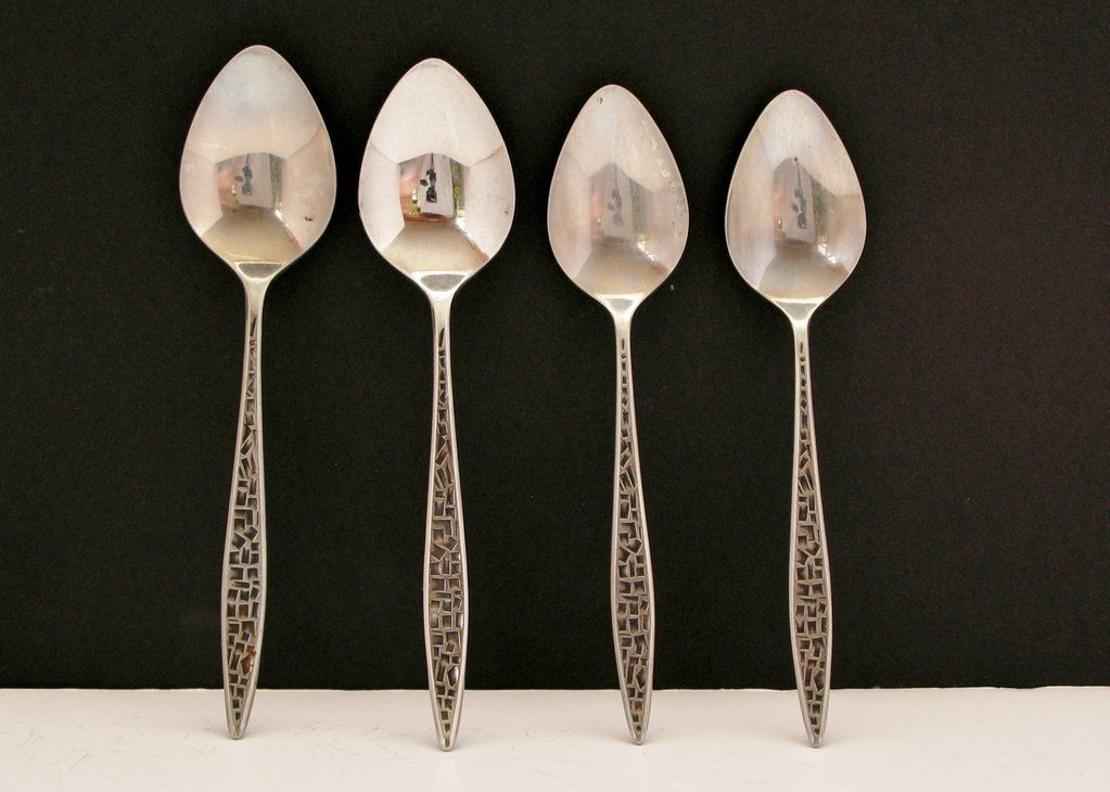 Vintage Viners Mosaic Spoons Lot Mixed Sizes X 4 Stainless Steel