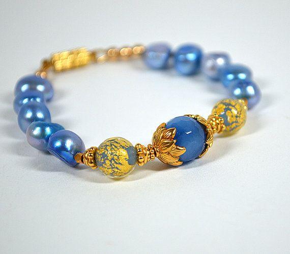 Elegant blue pearl bracelet Venetian Murano glass by ShopPretties, $65.00