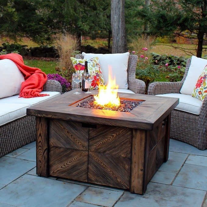 Propane Gas Fire Pit Table Kit Square Rustic Outdoor Faux Wood For