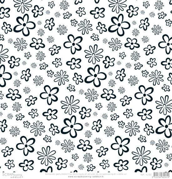 papier scrapbooking fleurs noir et blanc de scrapbooking motifs papier collimage. Black Bedroom Furniture Sets. Home Design Ideas