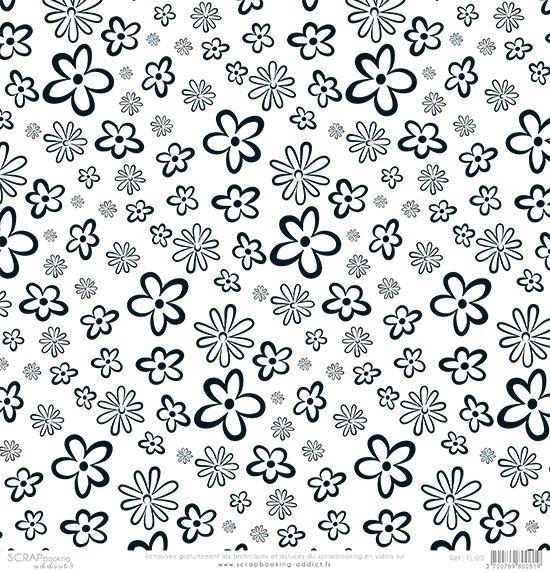 papier scrapbooking fleurs noir et blanc de scrapbooking. Black Bedroom Furniture Sets. Home Design Ideas