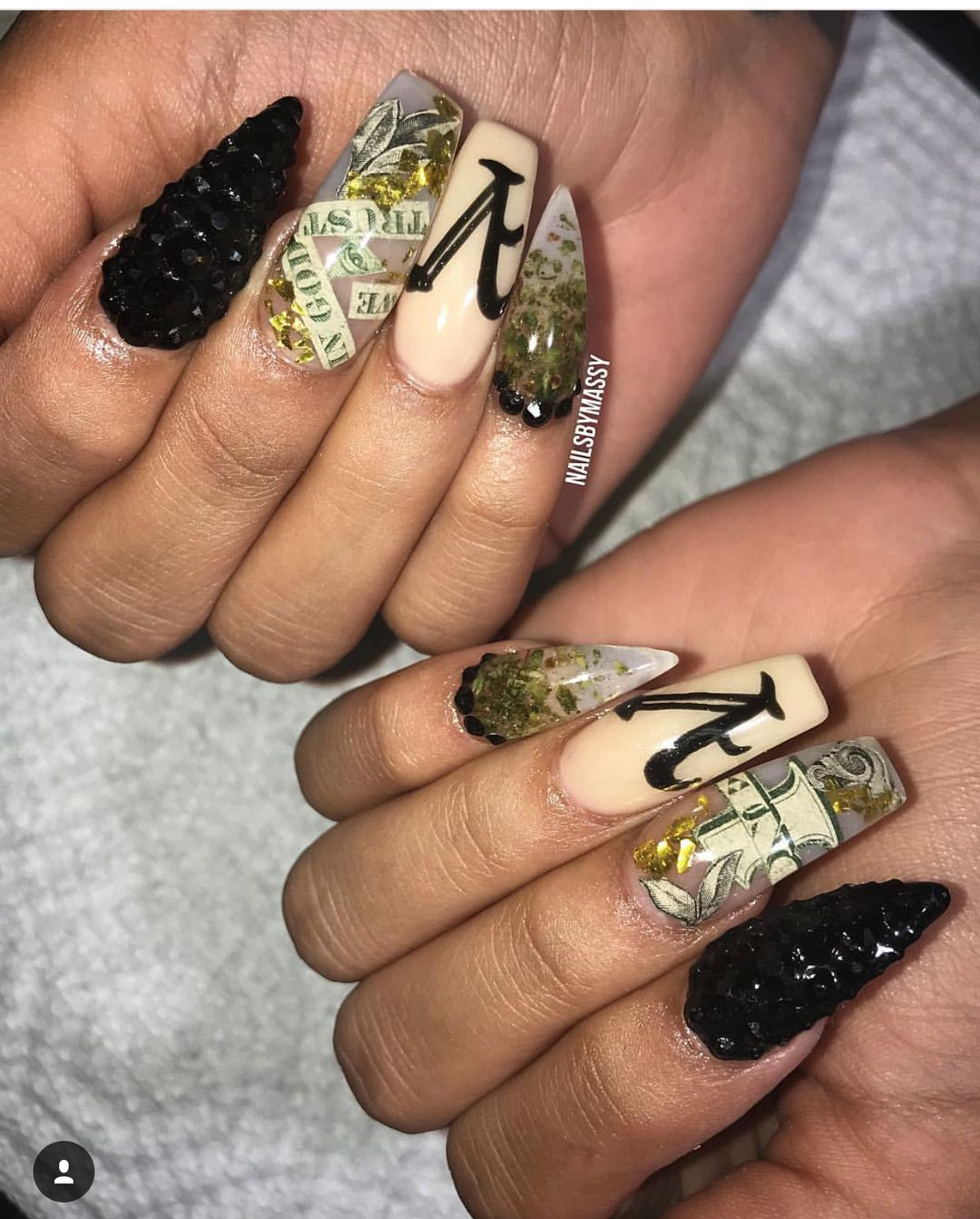 Weed Nails, Simple Nail Designs, Dope Nails, Nails Design, Acrylics, Claws,  Acrylic Nails, Acrylic Nail Designs - Pin By Firstluv 👑💙💛🖤 On Nail Sprung Pinterest Dope Nails
