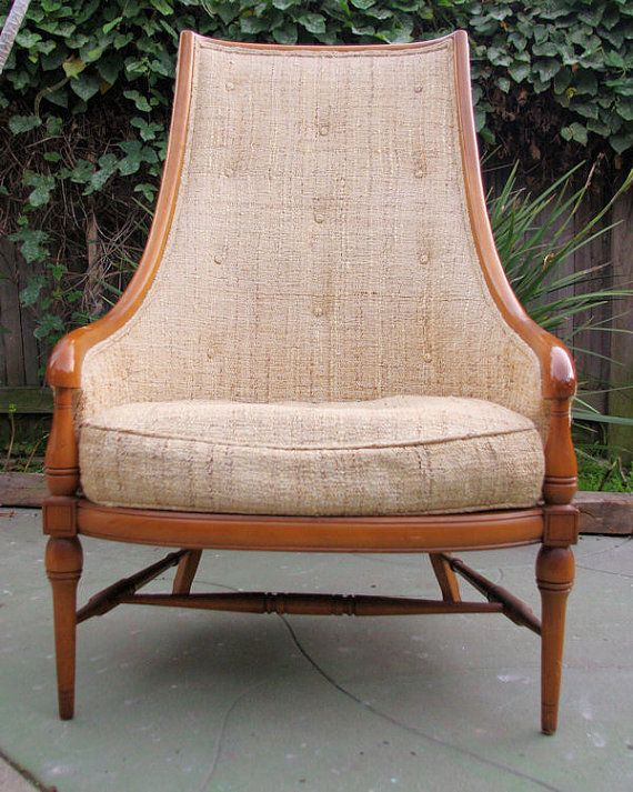 Mid Century Raw Silk HIGH BACK Down Filled Chair By Tomlinson Furniture  (Pavane Collection)