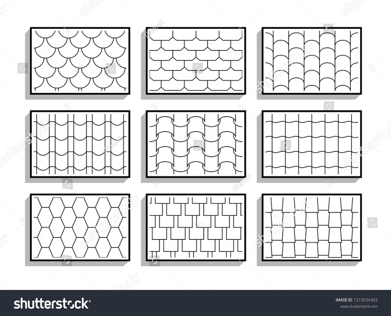 Set Of Seamless Roof Tiles Textures Black And White Graphic Patterns Of Architectural Materialstiles Textu Roof Tiles Architectural Materials Graphic Patterns