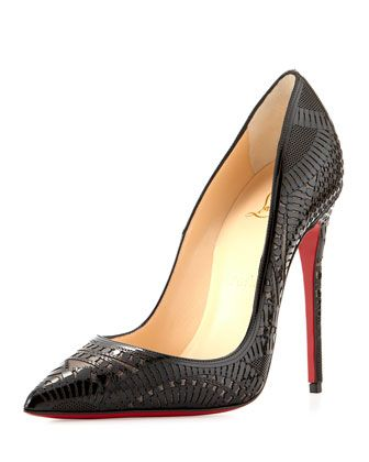 Kristali+Laser-Cut+Leather+Red+Sole+Pump,+Black+by+Christian+Louboutin+at+Bergdorf+Goodman.