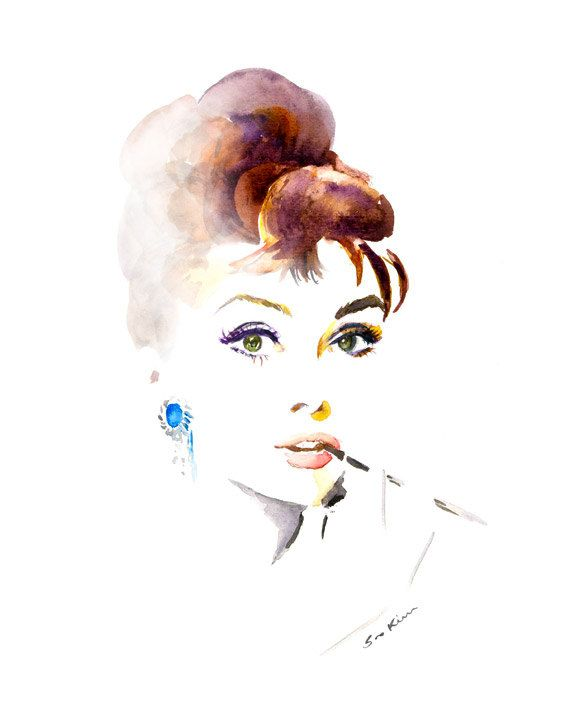 Audrey Hepburn Breakfast at Tiffanys Aquarell Portraitmalerei