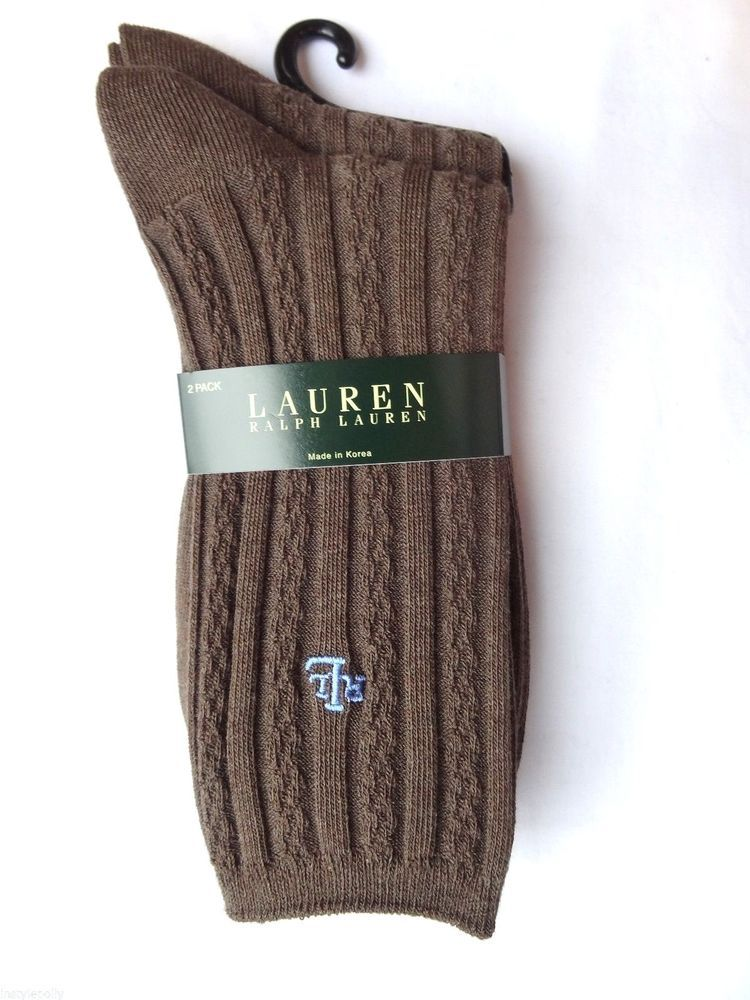Ralph Lauren Womens Brown 2 Pair RL Logo Cotton Blend Crew Cable Knit Socks NEW  #RalphLauren #Casual