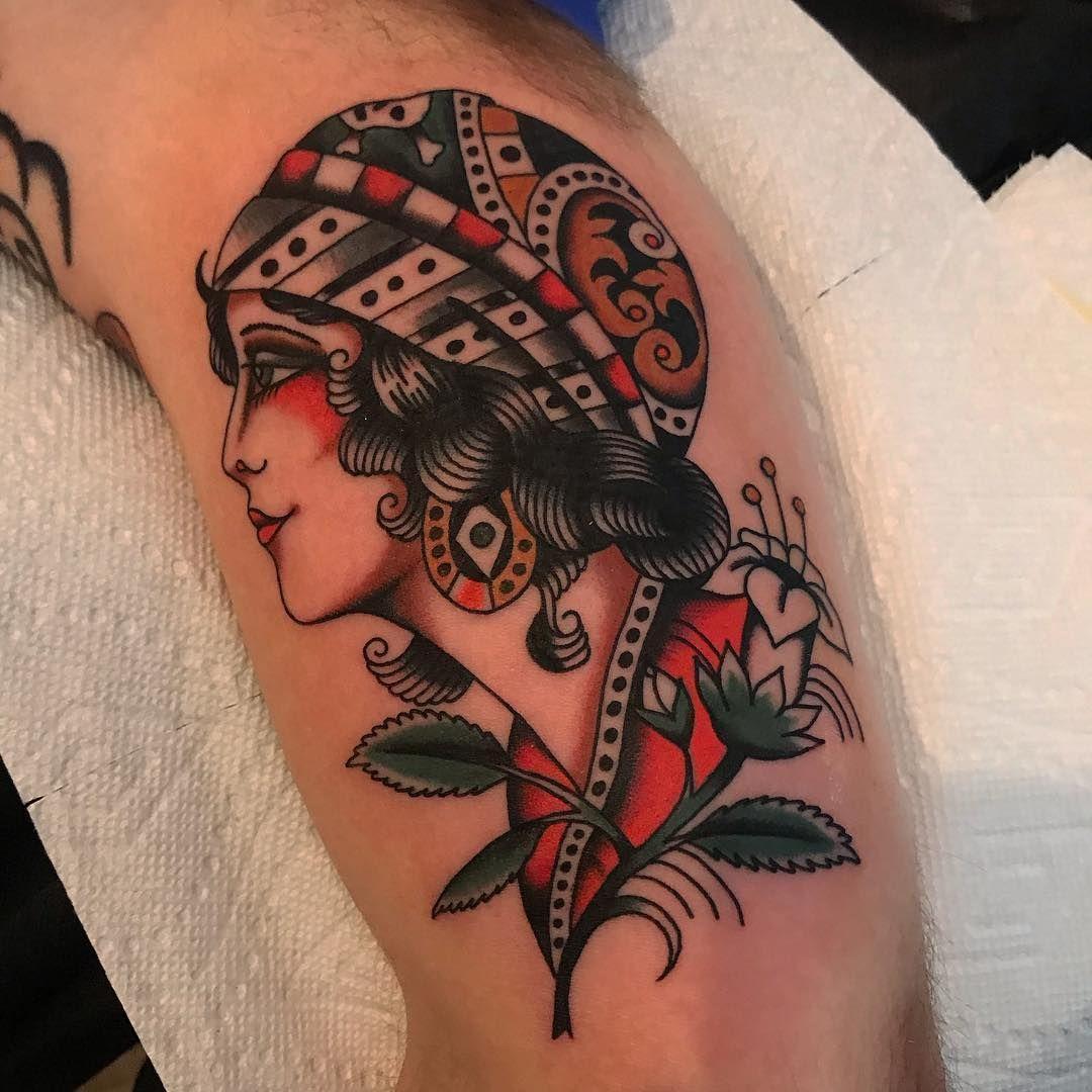 Old School Traditional Woman Portrait Tattoo Traditional Style Tattoo Tattoos Traditional Tattoo