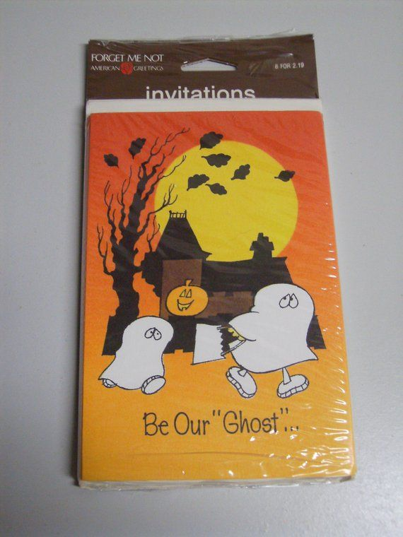 Vintage 80s halloween party invitations ghost haunted house american vintage 80s halloween party invitations ghost haunted house american greetings nos m4hsunfo
