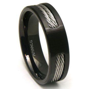 Black Titanium Double Cable Wedding Band Ring Titanium Wedding Rings Mens Wedding Rings Titanium Wedding Band