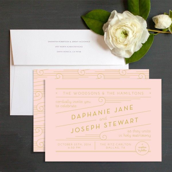 Deco Elegance Wedding Invitations by Ringleader Paper Co Elli - invitaciones de boda elegantes