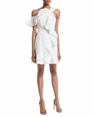 af152c5289c Self-Portrait Designer One-Shoulder Asymmetric Ruffle Dress