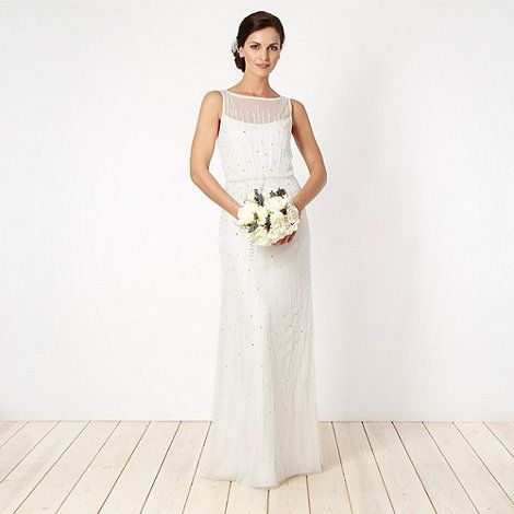 Debut Cream Embellished Lace Bridal Gown At Debenhams Com 75 Sale High Street Wedding Dresses Art Deco Wedding Dress Lace Bridal Gown