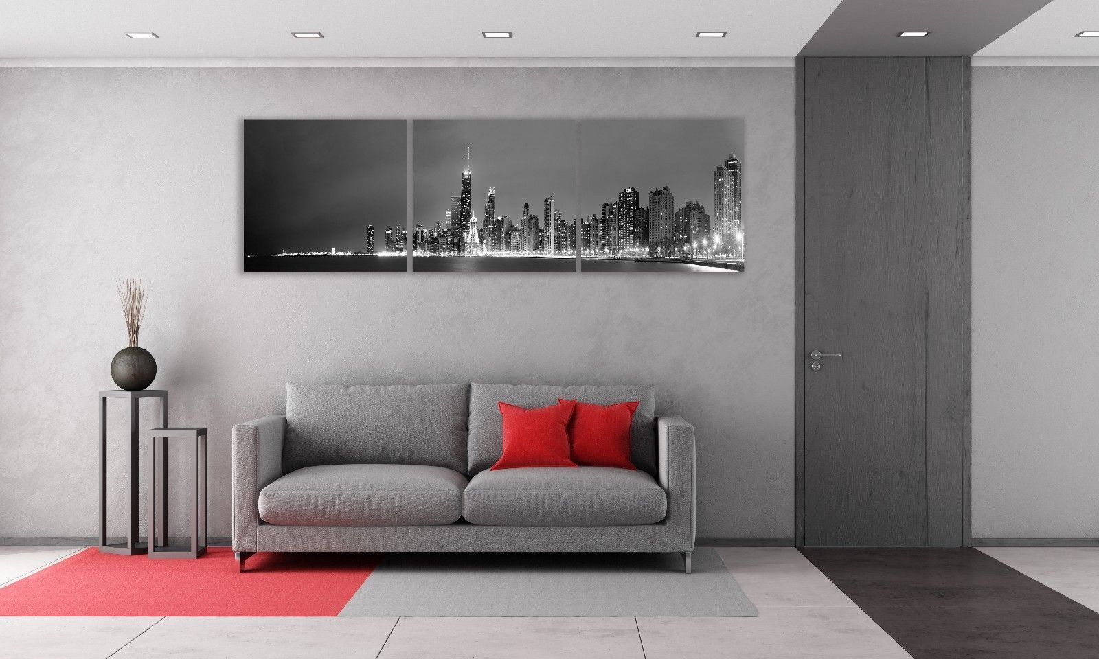 Chicago skyline black u white panoramic picture canvas print home