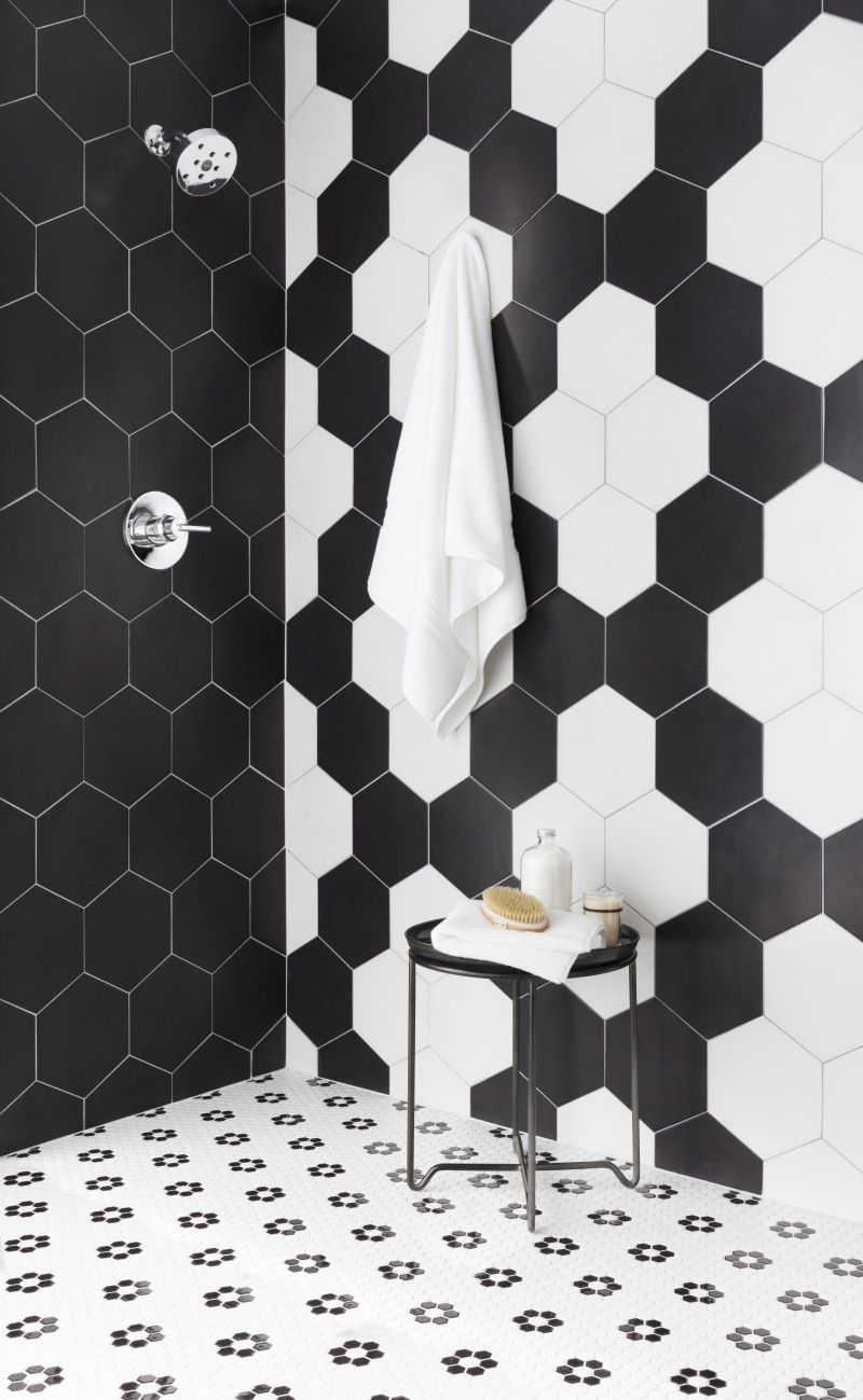 Cool And Unexpected Tile Combinations For The Kitchen And Bath Black And White Tiles White Hexagon Tiles White Bathroom Tiles