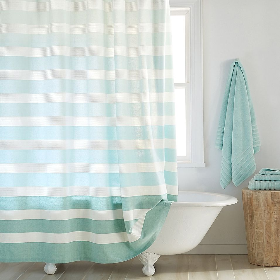 Dkny Highline 72 X 96 Stripe Shower Curtain In Aqua In 2020