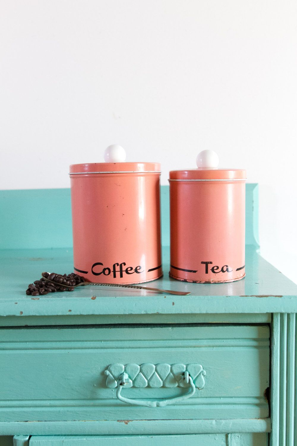 Vintage pink coffee and tea tin kitchen canisters, vintage Colorware ...