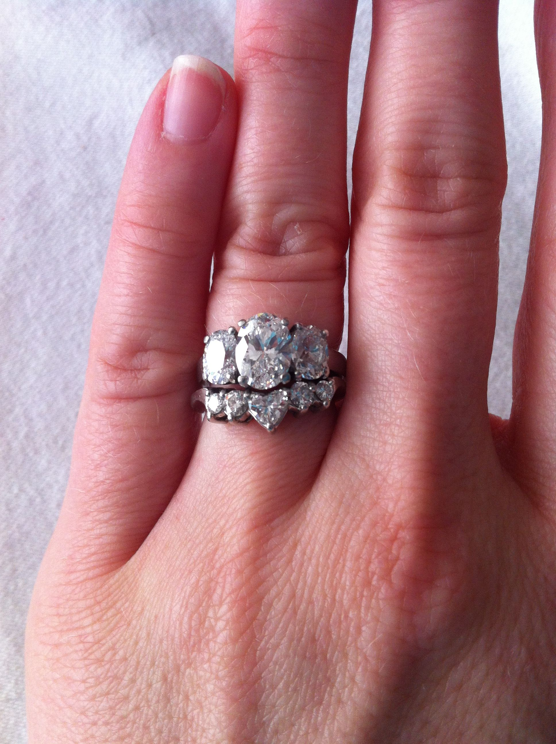 3 ct. Oval engagement ring with matching heart wedding band ...