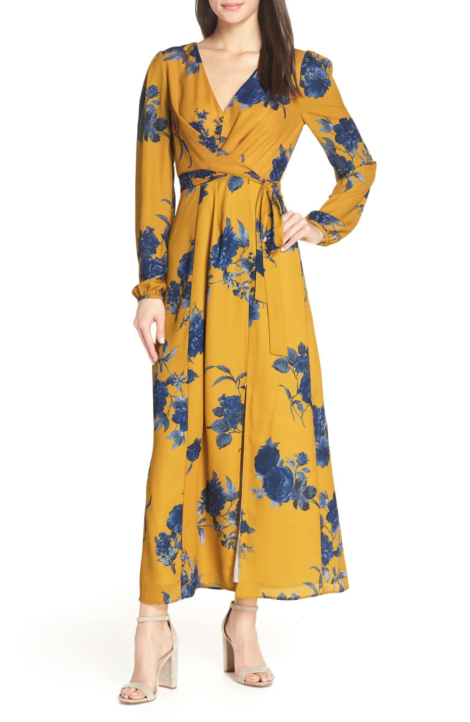 04e6720c32e2 Floral Print Faux Wrap Maxi Dress