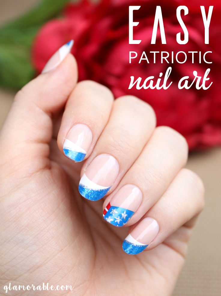 Red White And Blue Patriotic Nail Art For 4th Of July Blue Nails