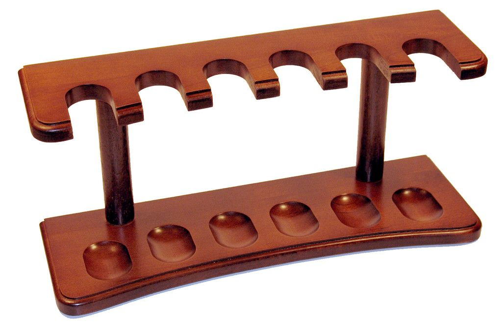 Real Wood w Cherry Finish Oak Straight 6 Tobacco Pipe Rack Stand