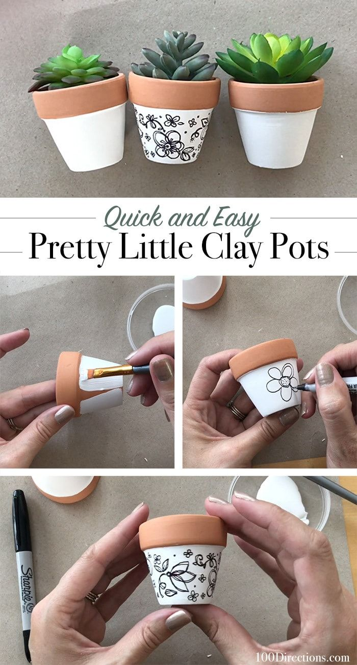 mini clay pot diy Mini Hand-Drawn Art Clay Pot Planter - 2 Directions  Decorated