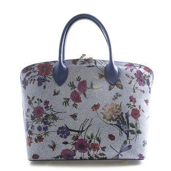 afe7c59d5 Květovaná modrá luxusní kožená kabelka ItalY Eliza   Kabelky, boty ...