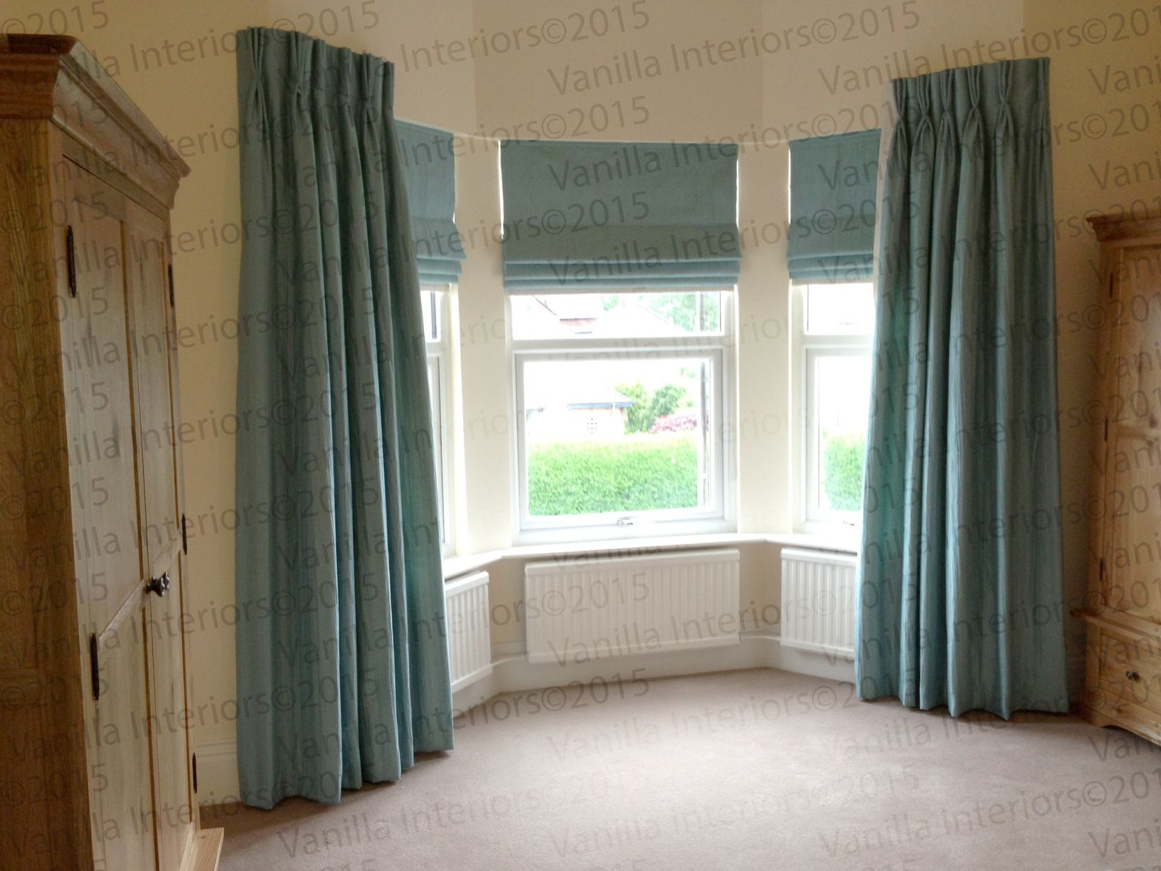 Superior Hand Sewn Triple Pleat Dress Curtains With Roman Blinds In James Hare Silks  Orissa. Location