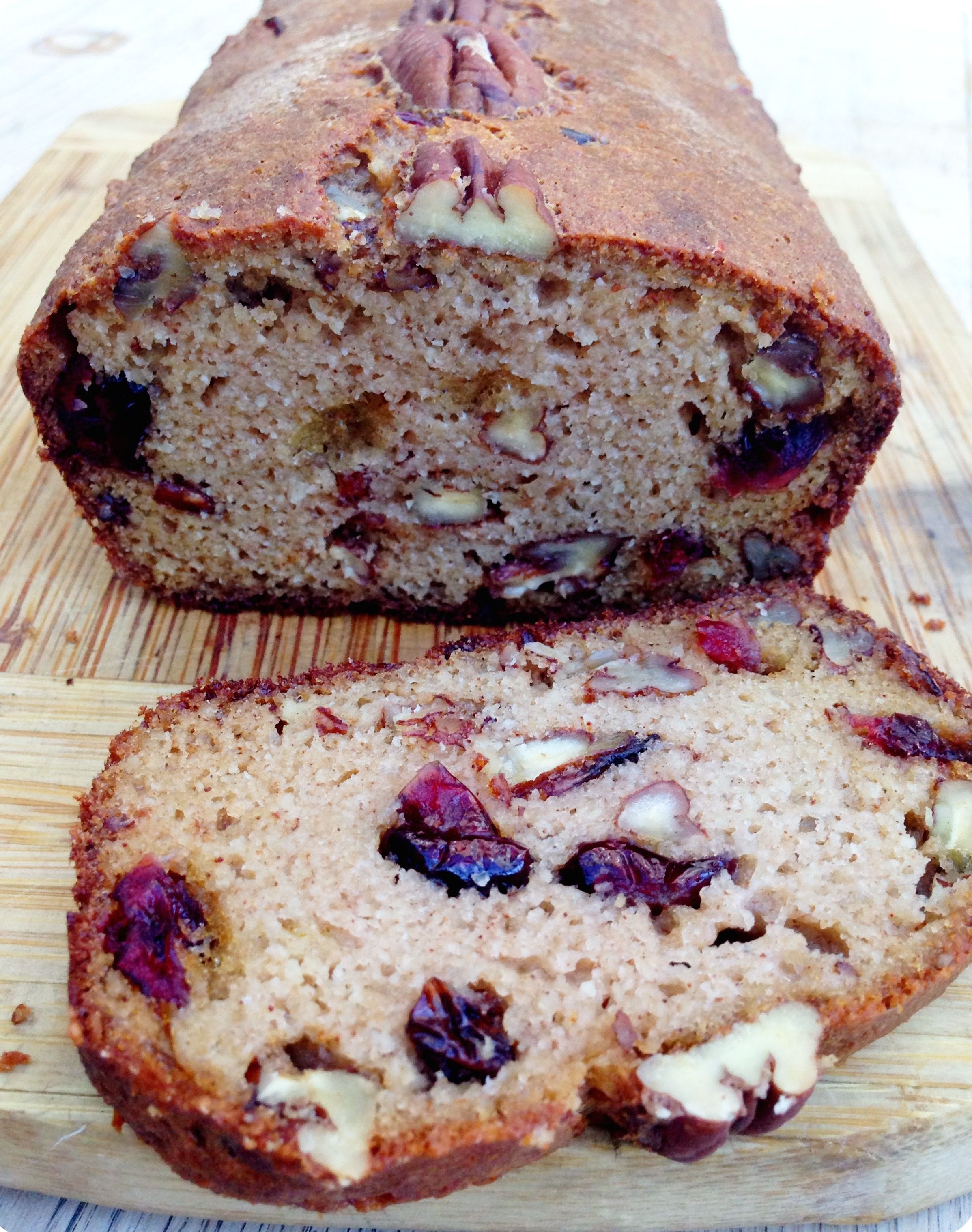 Cranberry Pecan Bread: Gluten free, dairy free and paleo. 5 Eggs 1/4 Cup of Honey/Maple Syrup (60ml) 1/4 Cup of Melted Coconut Oil (60ml) 2 1/2 Cups of Ground Almonds (300g) 1 Teaspoon of Baking Powder 1 Teaspoon of Cinnamon 1/2 Cup of Dried Cranberries (75g) 1/2 Cup of Pecans/Walnuts (75g)
