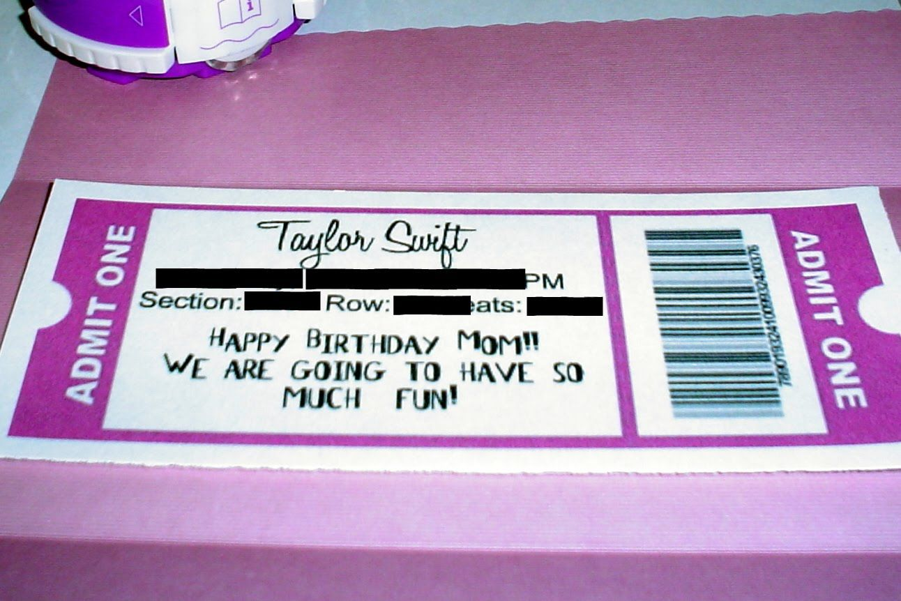 Lovely Taylor Swift Concert Ticket Template For Birthday Gift
