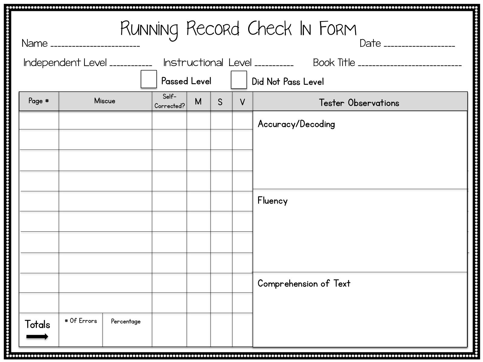 Informal Running Record Form Part Of Huge Guided Reading Bundle Appropriate For Upper