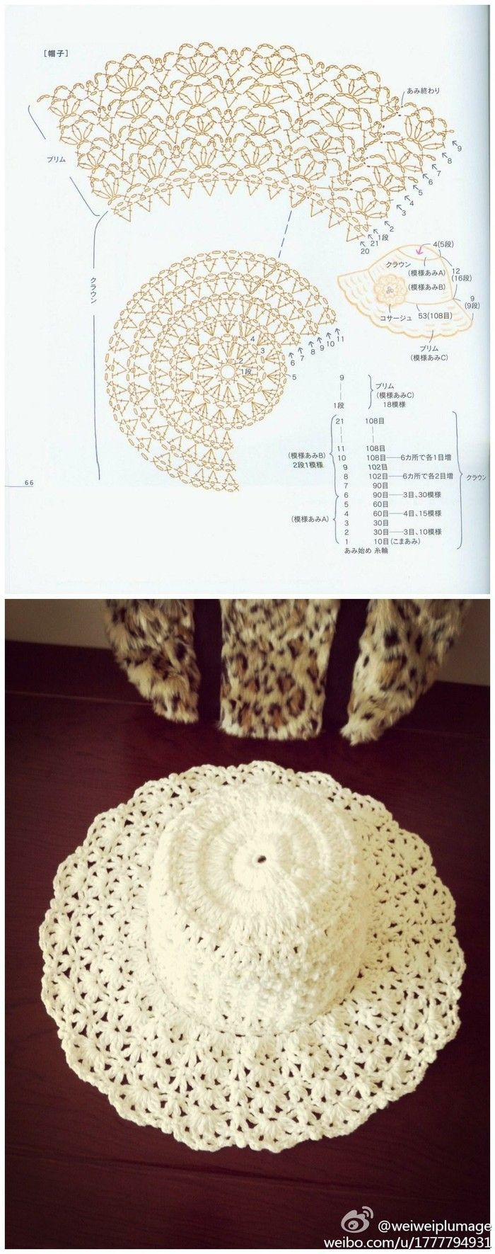 Beautiful lace hat with brim | boinas y gorros a crochet | Pinterest ...