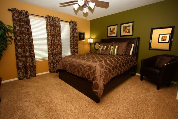 Bedroom re do inspiration Paint colors Lariat Tan and Green Briar Sherwin  Williams Window treatments were. Adult Room