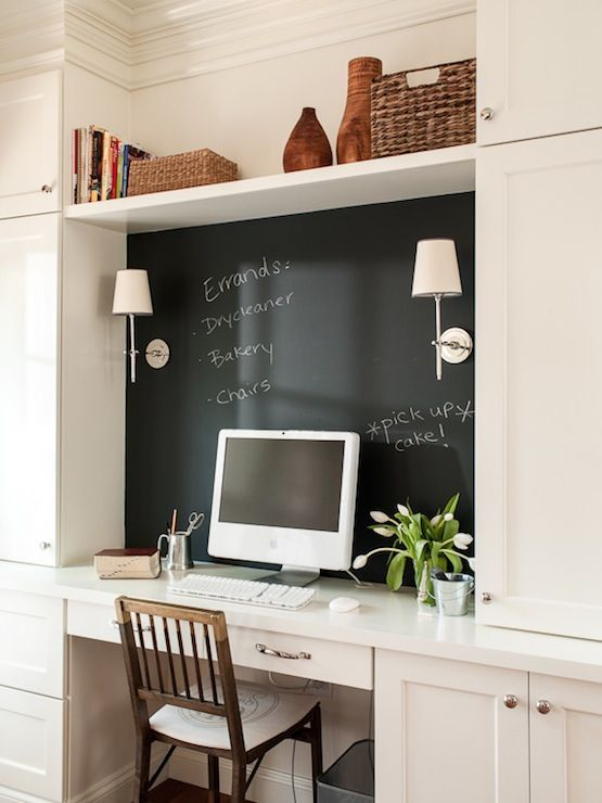 Source Lauren Liess Interiors Fabulous Home Office With Wooden Desk Chair Tucked Under White Built In Chalkboard Wall Behind Area Lit