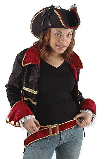 39845672bb7 Lady Buccaneer Black Tricorn Hat Edged with Gold Braid