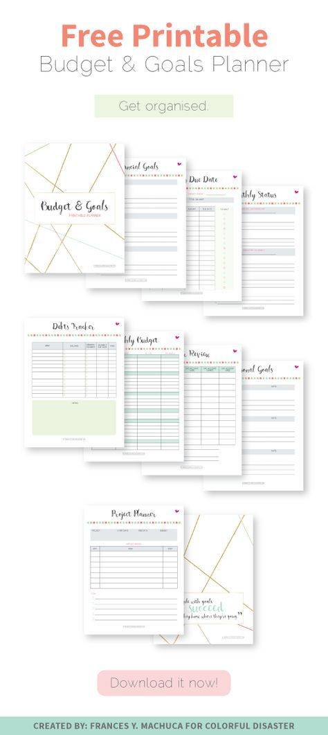 FREE PRINTABLE Budget \ Goals Planner print Pinterest - free printable budget planner