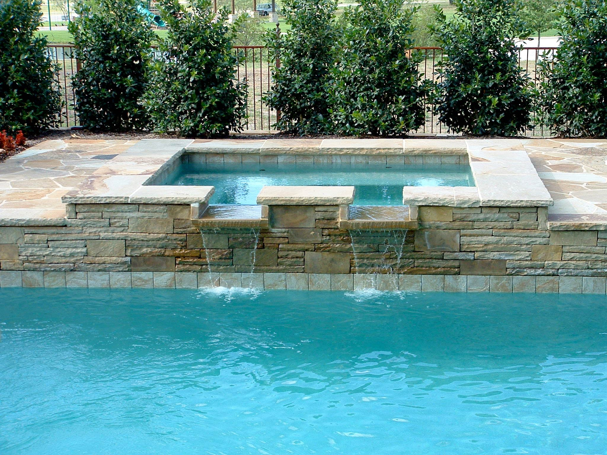 Formal swimming pool with raised spa rosetta fountains fort worth texas pool ideas for Swimming pool builders fort worth