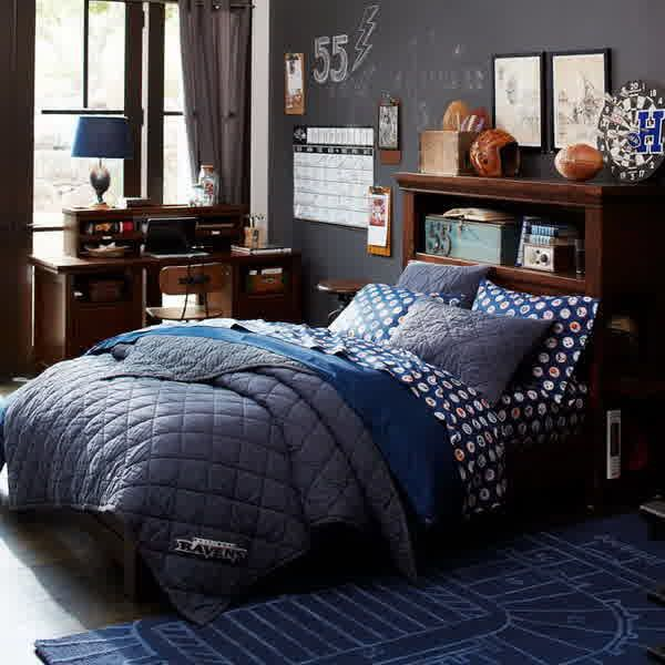 Teen Room, Boys Teen Bedroom Design With Wooden Bed Frame