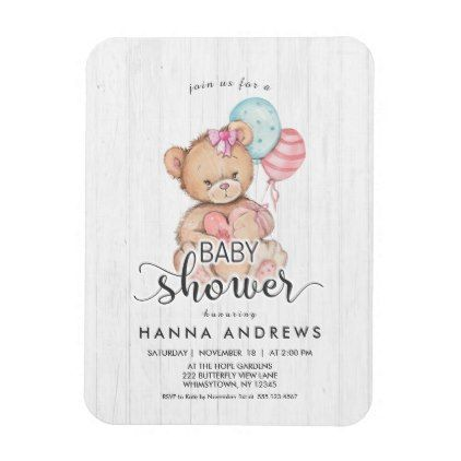 White Wood Teddy Bear Baby Shower Invitation Magnet Gifts Giftidea Diy Unique Cute