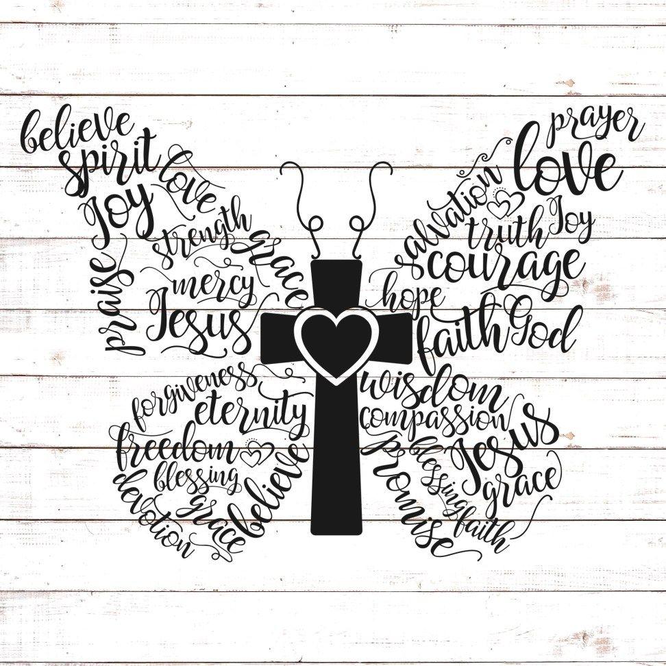 Christian Butterfly Butterflies svg, Cricut free