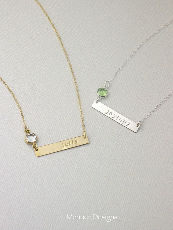 Gold Or Silver Monogram Name Plate Necklace Crystal Birthstone Necklace Personalized Nam Birthstone Necklace Mothers Birthstone Bar Necklace Gold Bar Necklace