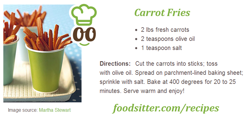 Last week, Chef Malkia gave 3 more cooking classes in a local Montessori school. One of the things she made were carrot fries - they were such a hit with the kids! Afterwards some parents emailed us saying 'thank you' for getting their little ones to eat some veggies  Here is the recipe - you should try it at home, it's super easy!  www.foodsitter.com/recipes