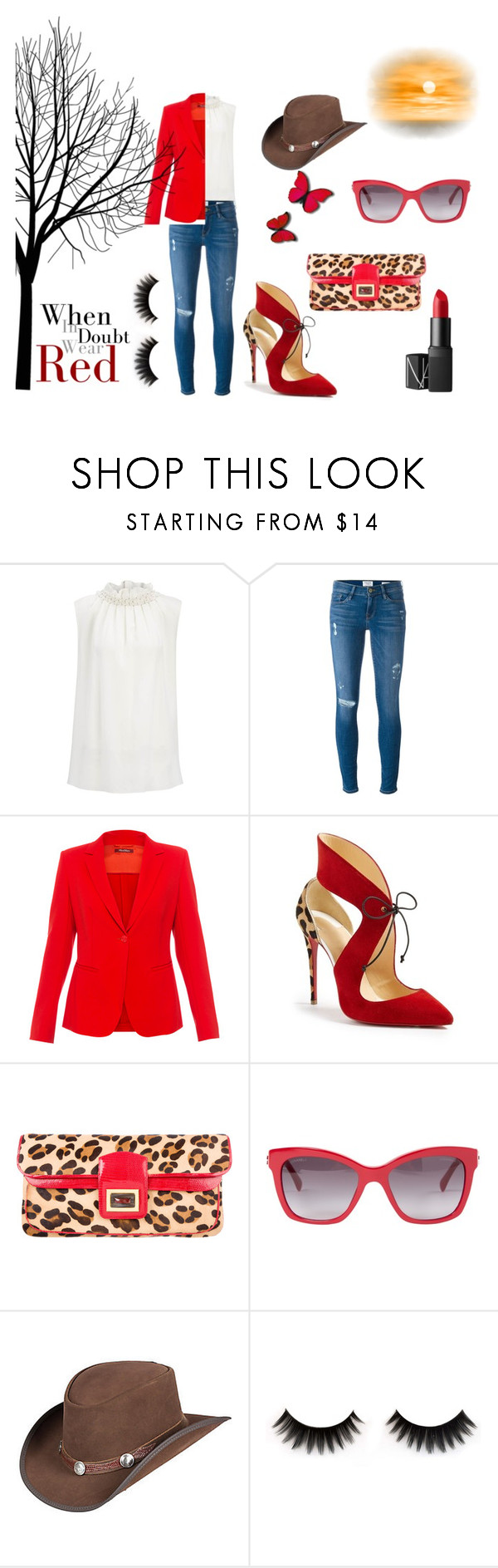"""When in Doubt, Wear Red"" by flowerbud77 on Polyvore featuring moda, Joseph, Frame, MaxMara, Christian Louboutin, Kara Ross, Chanel, Overland Sheepskin Co. y NARS Cosmetics"