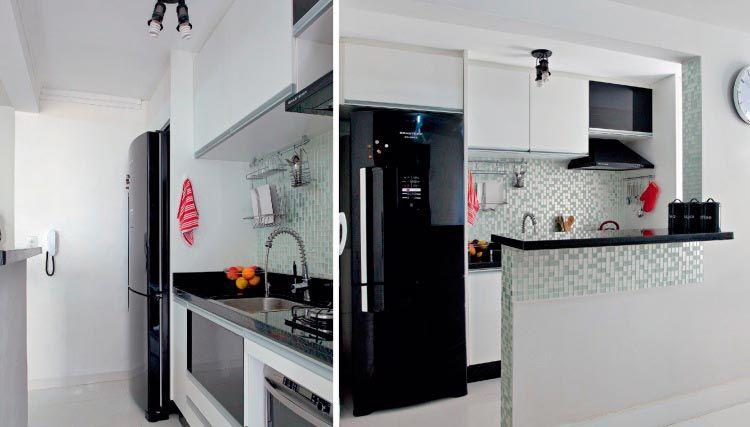 30 cozinhas pequenas e coloridas  Cozinhas pequenas, Geladeira preta e Colorir # Cozinha Pequena Com Geladeira Preta