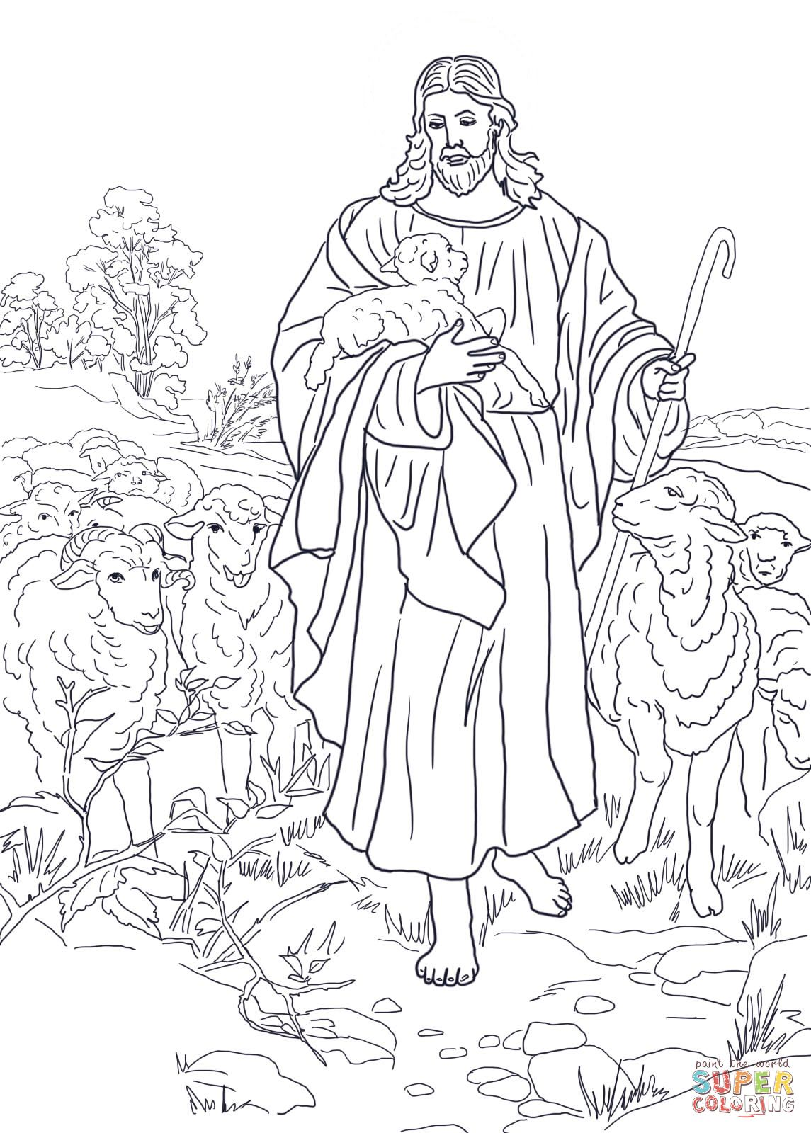 Jesus Is The Good Shepherd Super Coloring Jesus Coloring Pages