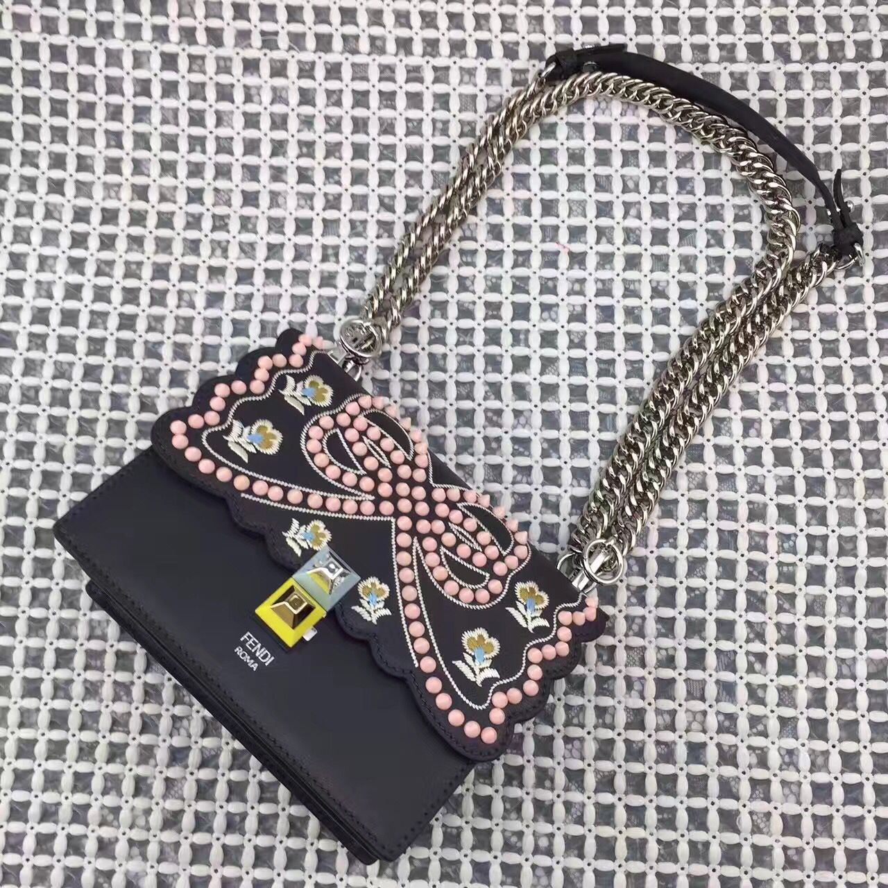 Fendi Multicolor Studded Embellished and Floral Embroidered Kan I Crossbody  Mini Bag Black Spring 2017 54b862aa760ff