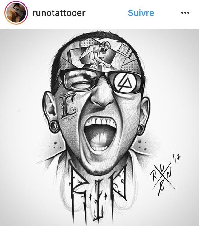 Very Interesting Drawing Of Chester Bennington Linkin Park Chester Chester Bennington Tattoo Linkin Park