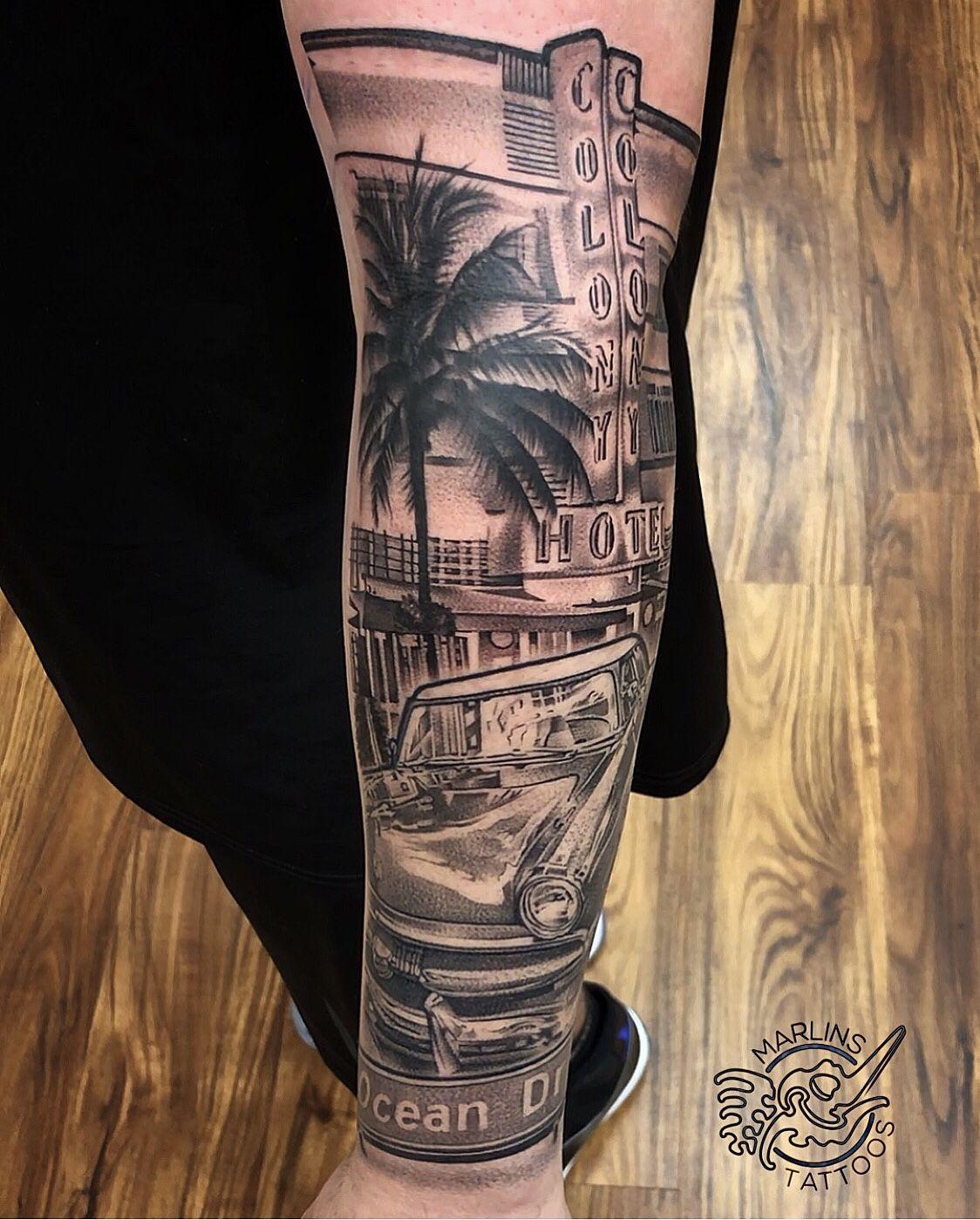 Ocean drive theme Miami tattoo. Realistic single needle technique ...