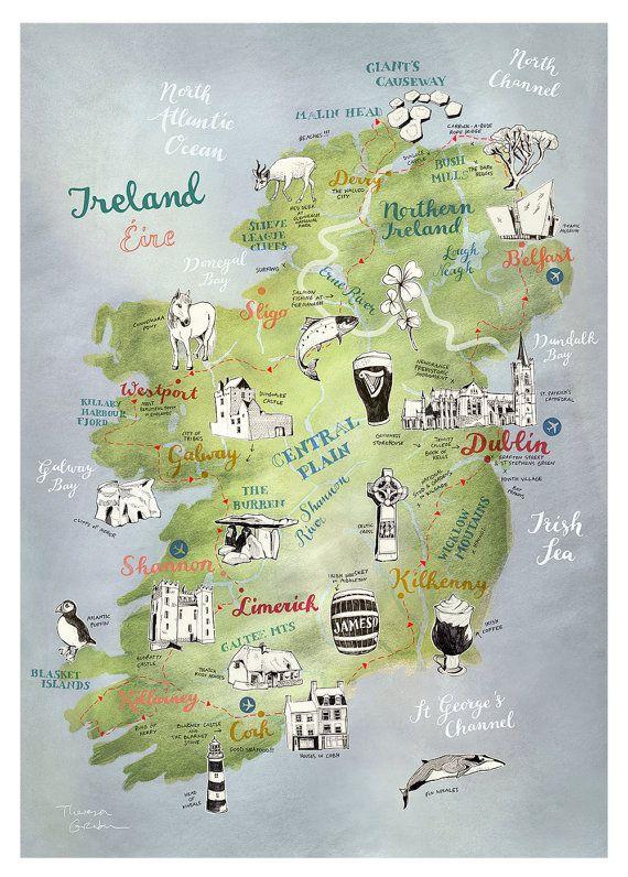 Road Map Of Ireland And Northern Ireland.Ireland Postcard Hand Drawn Map Illustrated Postcard Irish Art